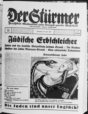 A cover from the Nazi newspaper Der Sturmer depicting jews as venemous snakes.