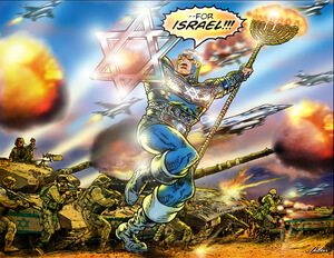 Artwork from Captain Israel No. 1, a comic book of racist propaganda from StandWithUs.