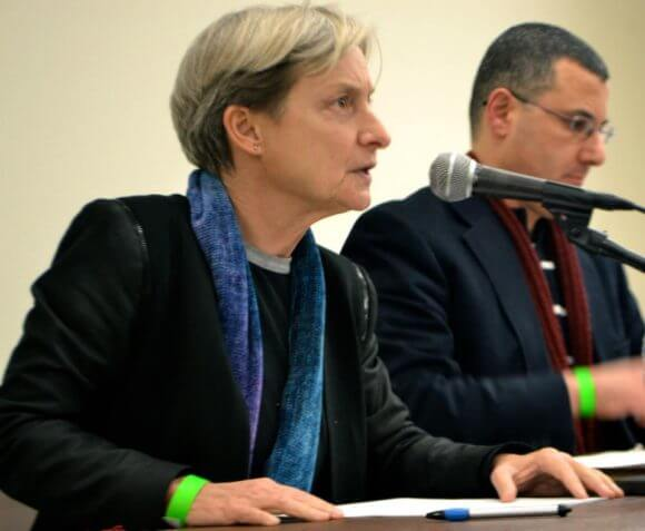 Judith Butler and Omar Barghouti at Brooklyn College in February (Brooklyn College SJP)