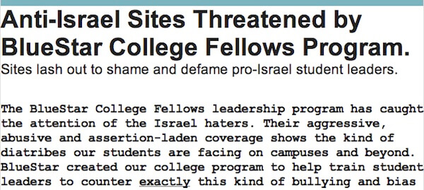 The beginning of a fundraising appeal from Blue Star PR, a pro-Israel advocacy organization.