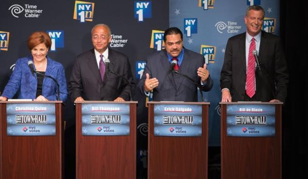 The mayoral candidates at a debate this month. From left to right: Christine Quinn; Bill Thompson; Erick Salgado; and Bill de Blasio. (Photo: RUTH FREMSON//THE NEW YORK TIMES)