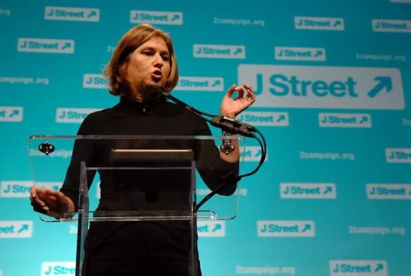 Tzipi Livni speaking at the 2013 J Street conference (Photo: J Street)