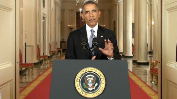 Screenshot from Obama's address to the nation on Syria, September 10, 2013.