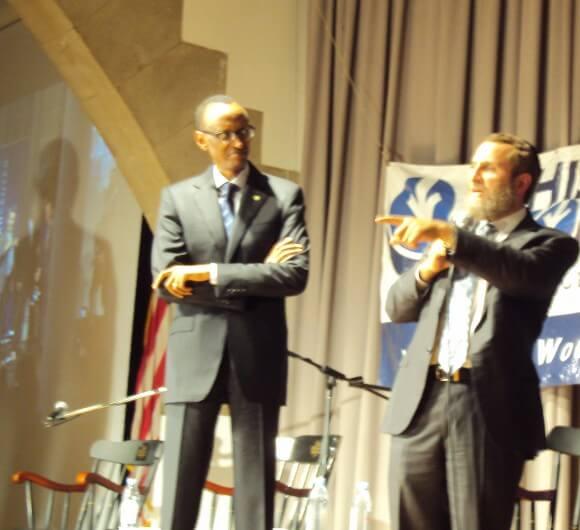 Rwandan President Paul Kagame, on the left, with Rabbi Shmuley Boteach. (Photo: Alex Kane)