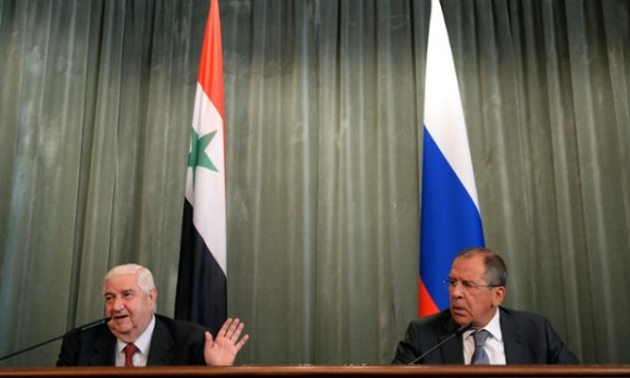 Syria's foreign minister, Walid al-Moualem with Russian foreign minister Sergei Lavrov in Moscow.