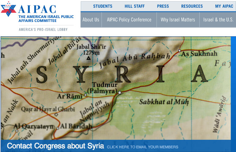 Screenshot of the AIPAC.org homepage, September 6, 2013.