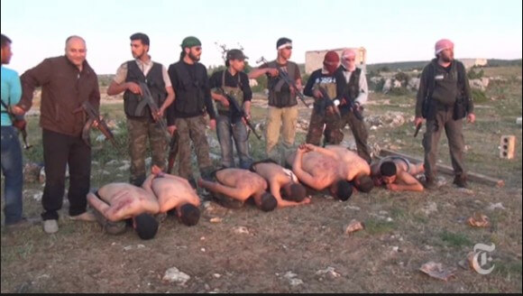 "Screenshot from the New York Times video ""Syrian Rebels Execute 7 Soldiers."""