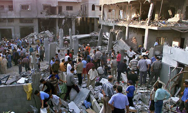 "Eric Alterman's ""tough luck"": In 2002, Israel took out a Gaza City neighborhood with a one-ton bomb in order to assassinate one person in his sleep."