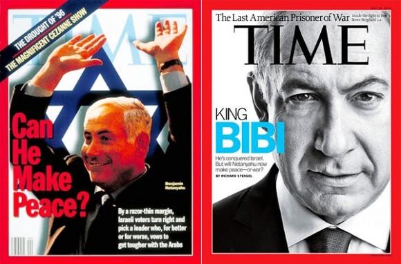 "Time 1996: ""Can he make peace?"" Time 2012: ""Will Netanyahu now make peace?"""