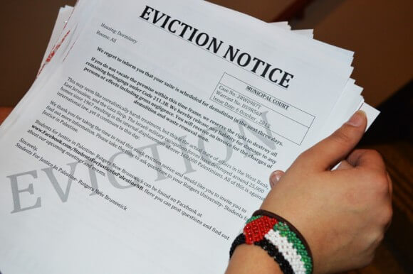 Mock eviction notice, published in the Targum, courtesy of Syjil Ashraf