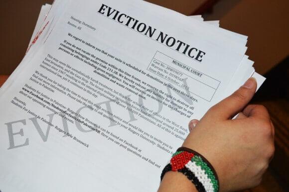 Mock eviction notice, published in the Targum, courtesy of Syjil Ashraf