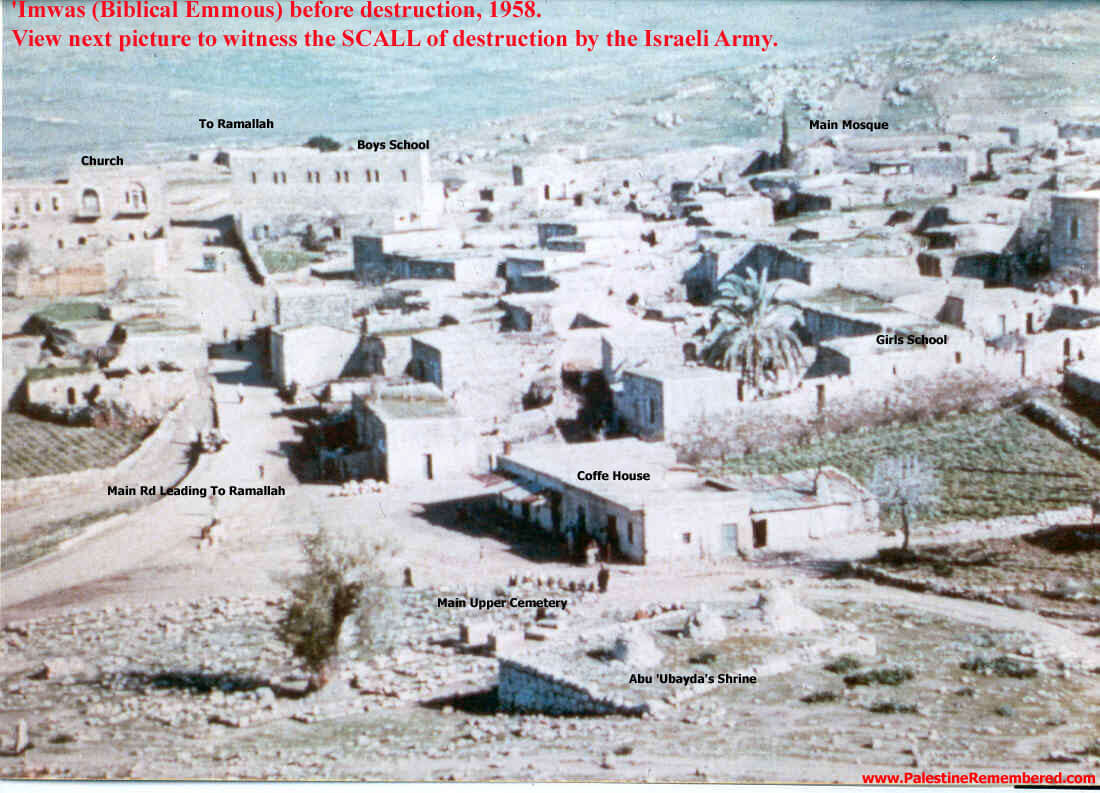 The Palestinian village of Imwas in 1958. (Photo: Palestine Remembered)