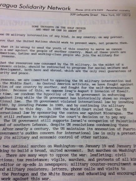 An appeal against the Gulf War that criticizes the Israeli occupation. Courtesy of the Tamiment Library, New York University.