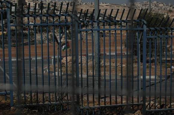 Round about to no where, inclosed inside of the security fences of a-Zeitim checkpoint. (Photo: Allison Deger)