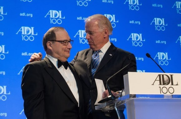 Foxman and the vice president at ADL centennial gala last week
