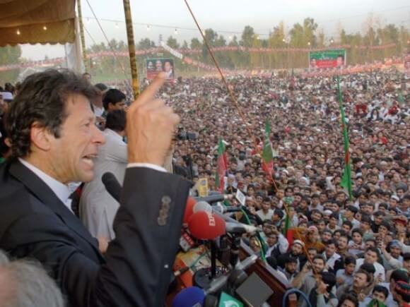 Imran Khan in Peshawar, Pakistan on Saturday, November 23 addressing a crowd of over 10,000 protesters who blocked the highway used by NATO supply trucks taking goods in and out of Afghanistan. (Photo via CNBC Pakistan)