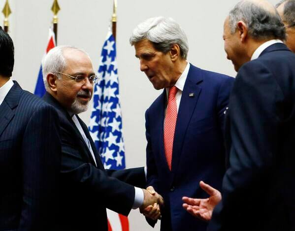 Foreign Minister Zarif and Secretary of State Kerry shake hands