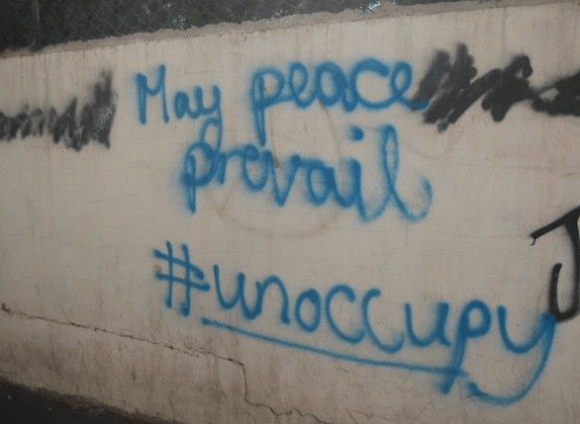 Wall graffiti along the alleys of Aida Refugee Camp in Bethlehem. (Photo: Yara Karmalawy)