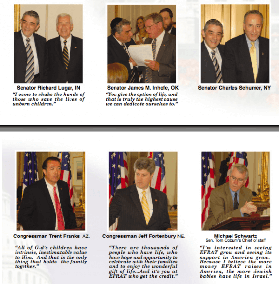 Screen shot of congressional supporters of American Friends of Efrat. (Image: FriendsofEfrat.org)