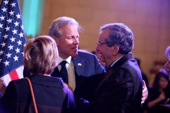 "Israeli Ambassador Michael Oren and the American Task Force on Palestine's Ziad Asali at an ""independence day"" celebration organized by the Israeli embassy in Washington, D.C."