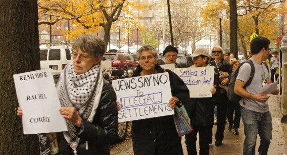Protesters outside settlers conference, Nov.17, photo by Bud Korotzer