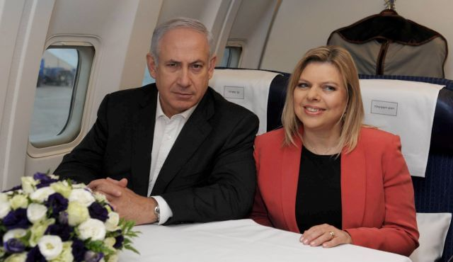 "Earlier this year Netanyahu was criticized for spending $127,000 of Israeli taxpayers' money on a ""resting chamber"" for a five-hour flight to London. Above, Netanyahu and his wife Sara flying to London, in 2011. (Photo: GPO)"