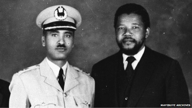 A young Nelson Mandela with Ethiopian General Tadesse Birru. (Photo: BBC via Mayibuye Archives)