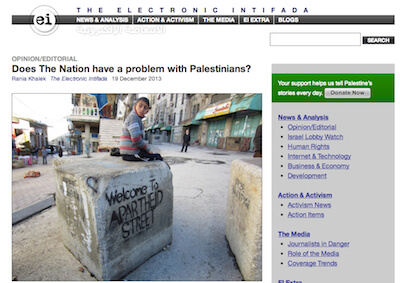 Screenshot: Electronic Intifada