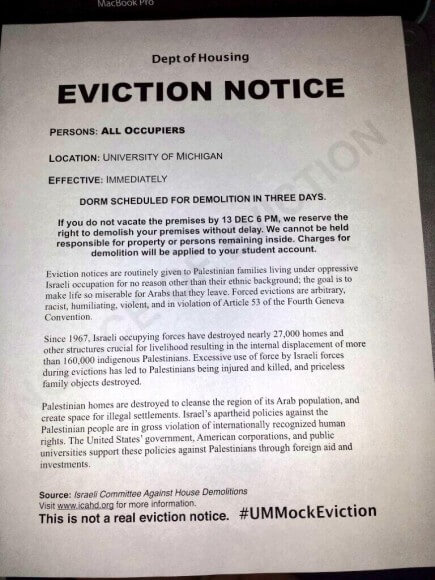 Mock eviction notice posted on student dorm rooms at the University of Michigan. (Photo: @krisstinaa_xo/Twitter)