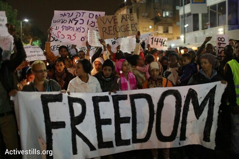 Marching in Tel Aviv.  December 28, 2013