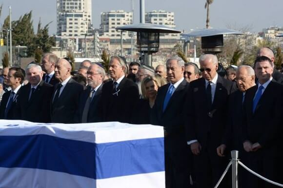 Sharon's funeral today, from the Facebook page of Netanyahu, center right, with wife Sara and VP Joe Biden