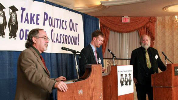 Cary Nelson (right) debating David Horowitz (left), back when they had something to debate.