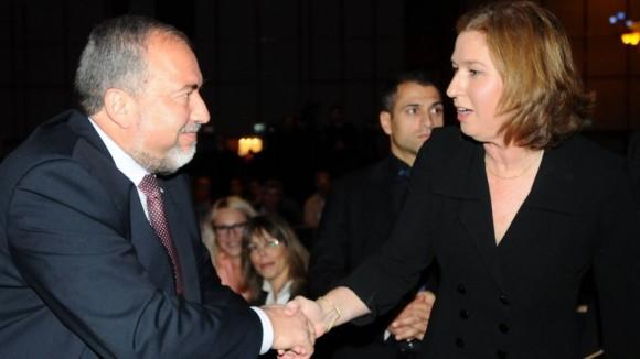 Avigdor Liberman and Tzipi Livni in January 2013 (Photo: Flash90)