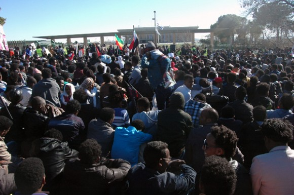 African asylum seekers protesting in front of the Knesset in Jerusalem. (Photo: Allison Deger)