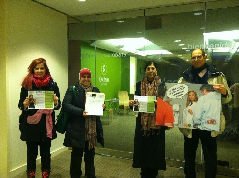 Activists at Oxfam America's office in Washington DC. (Photo: US Campaign to End the Israeli Occupation)