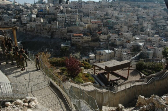 City of David park overlooking Silwan. (Photo: Allison Deger)