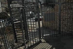 Metal gate crossing between City of David and Silwan. (Photo: Allison Deger)