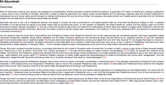 Screenshot of Stand4Facts' dossier on Abunimah