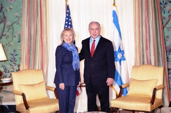 Then-Secretary of State Clinton meets Netanyahu at Blair House, DC, March 2012. State Dept photo by Michael Gross