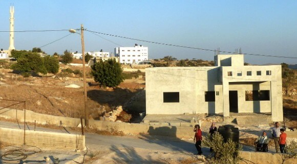 """All three Rebuilding to Remain Homes are built close to the Kindergarten and Mosque within the circle that """"for the time being will remain standing"""" per the Israeli High Court (photo: Rebuilding Alliance)"""