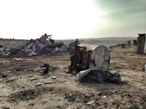 Water tank destroyed by the Israeli police in the Abu Alkin village. (Photo: Callie Maidhof)