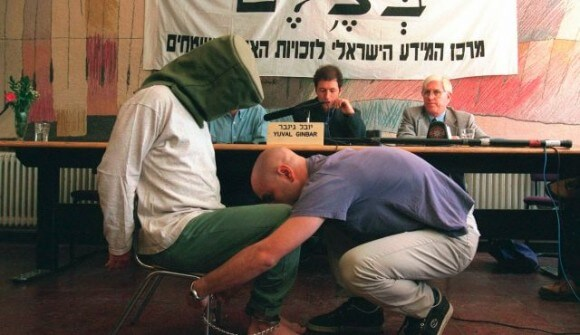 """Israeli actor demonstrates the """"shabach"""" position for the human rights group B'tselem. (Photo: AP)"""