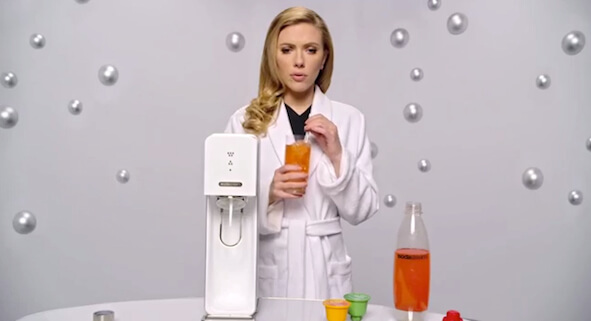 Screenshot from SodaStream's Super Bowl commercial where Scarlett Johansson wonders how it all went so wrong.