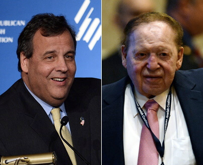 Chris Chstie and Sheldon Adelson (photo: Getty)