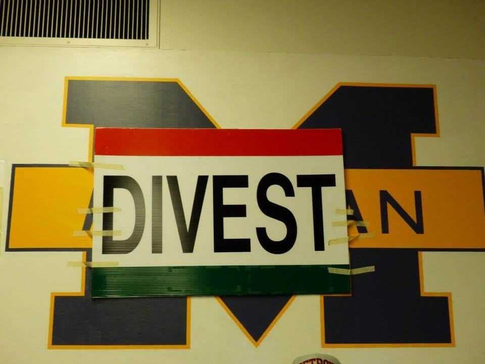 A sign at a student sit-in calling for the University of Michigan to divest from corporations that work with the Israeli military. (Photo: Students Allied for Freedom and Equality/Facebook)