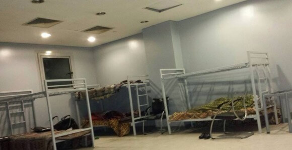 Medea Benjamin's cell at Cairo airport, photo by Crystal Zevon