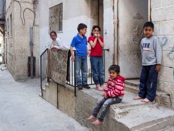 The children rescued from tear gas by Mohammed Lutfi. (Photo: Dan Cohen)