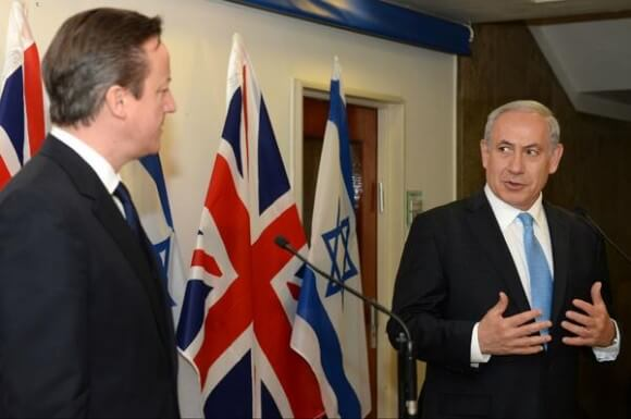 Netanyahu with David Cameron, from the Israeli PM's twitter feed
