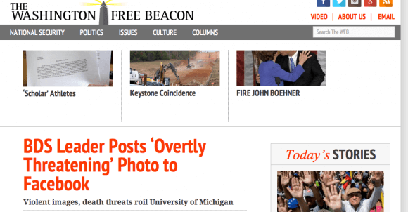 A screenshot of the Washington Free Beacon website.