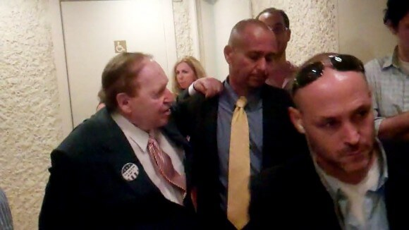 Sheldon Adelson wearing Romney button in Hebrew, at King David Hotel Jerusalem, 2012